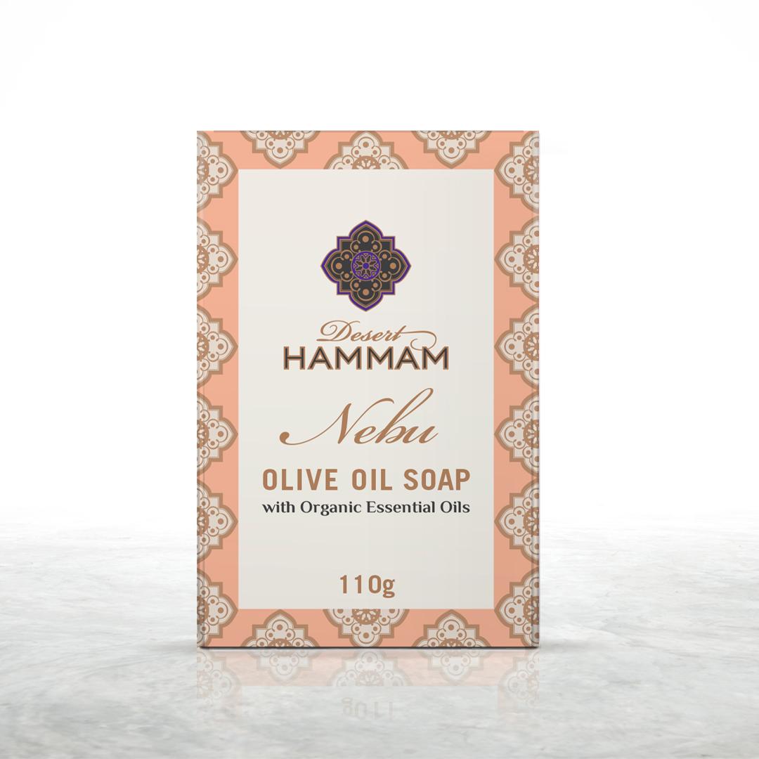 NEBU Desert Shadow olive oil soap with organic geranium & orange essential oil product shot