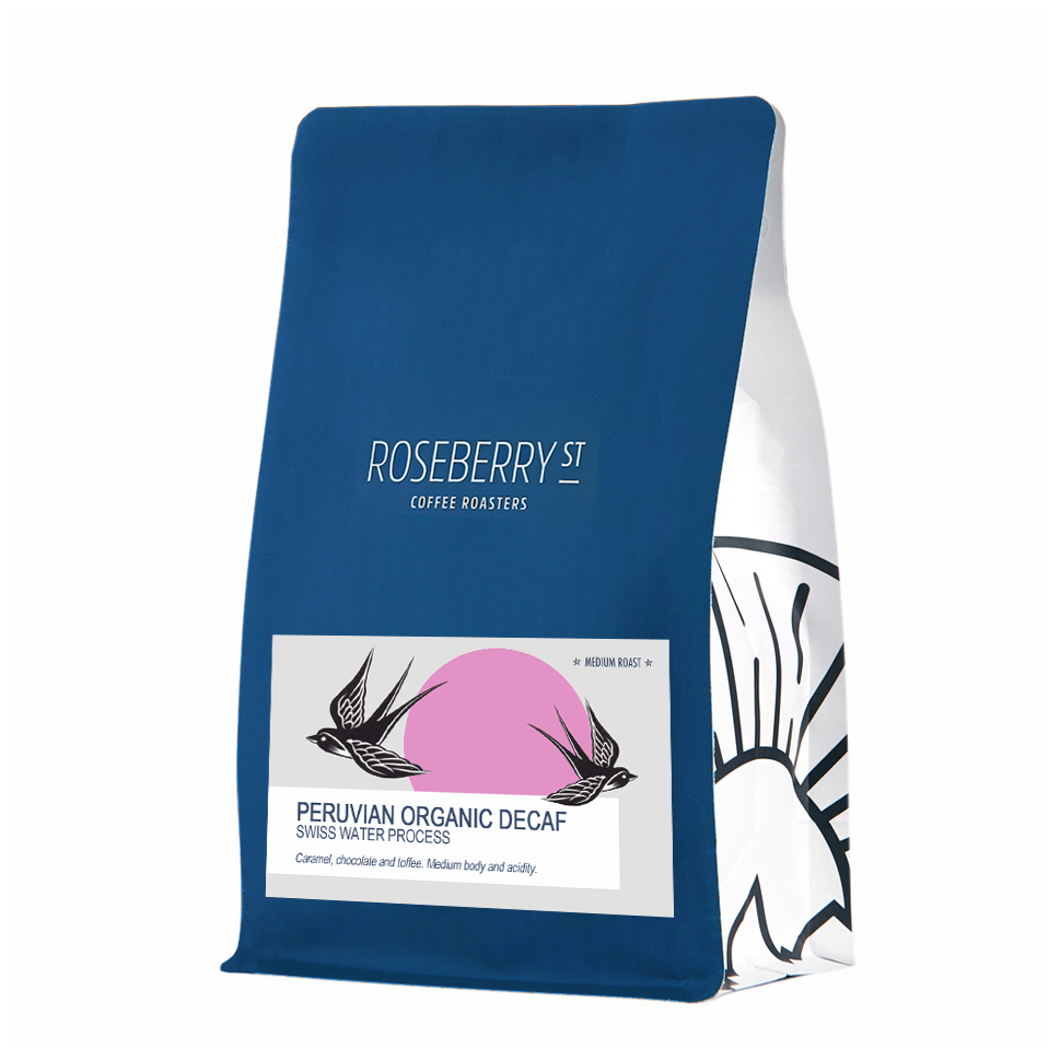 Organic & fairtrade Peruvian Decaf coffee 250g product shot. Roseberry Street Roasters