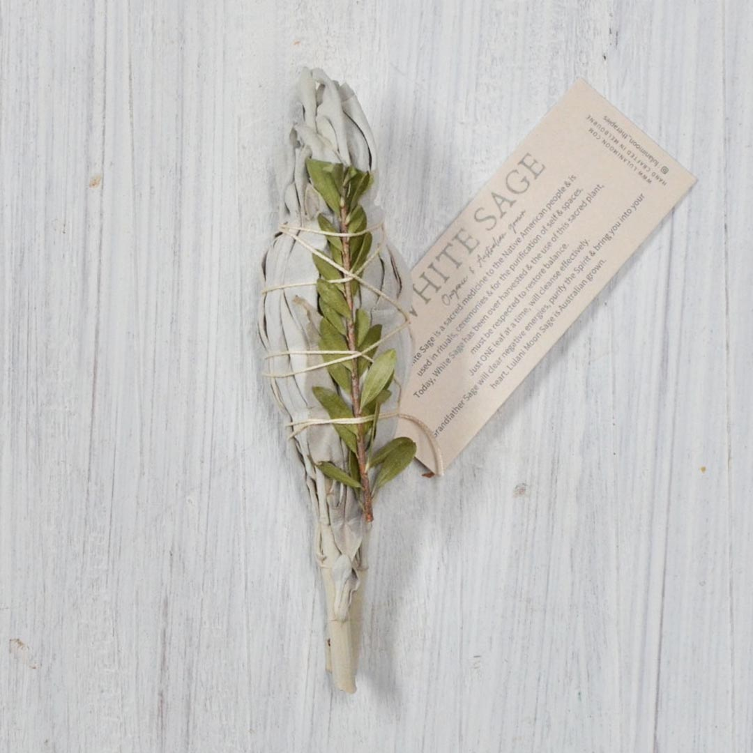 White sage ritual smudge stick incense small by lulani moon therapies product image