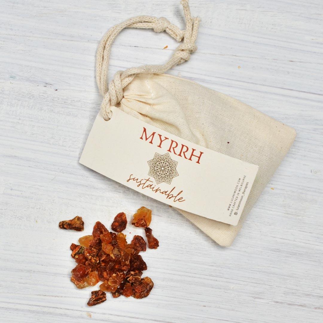 Lulani Moon Myrrh sustainable incense smudge product shot