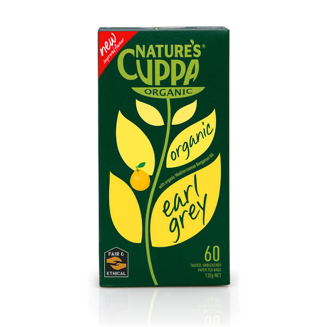 Natures cuppa organic earl grey tea bags 60 product shot
