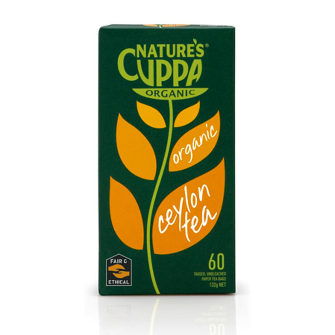 Natures cuppa organic ceylon tea bags 60 product shot