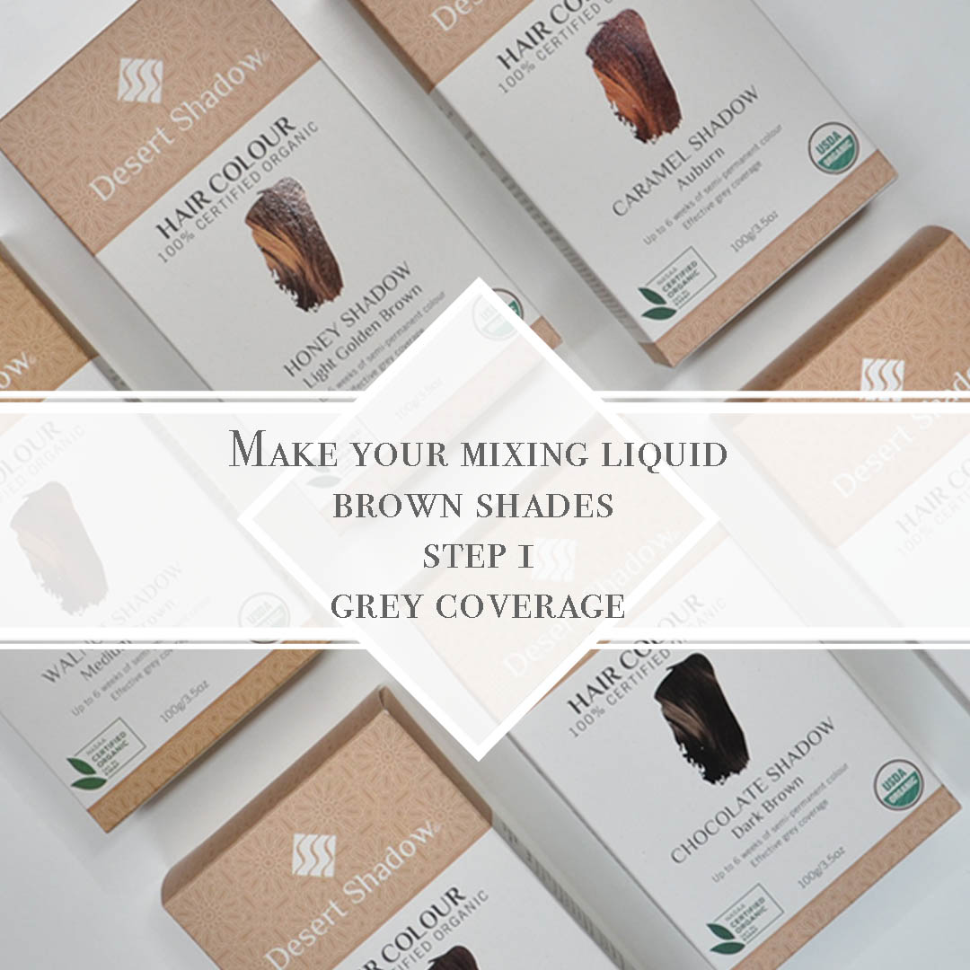 Activate your step 1 with a liquid solution - Desert Shadow organic hair colour mixing guide & tutorial