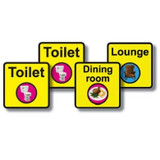 Dementia Signage Starter Pack. 4 x Square signs 300mm x 300mm