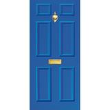 Door Vinyl Decal, Dementia Friendly with Letterbox & Knocker - Blue