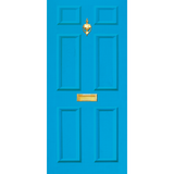 Door Vinyl Decal, Dementia Friendly with Letterbox & Knocker - Light Blue