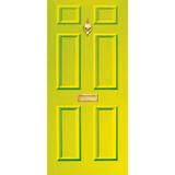 Door Vinyl Decal, Dementia Friendly with Letterbox & Knocker - Lime Green