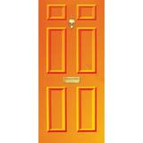 Door Vinyl Decal, Dementia Friendly with Letterbox & Knocker - Orange