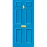 Door Vinyl Decal, Dementia Friendly with Letterbox & Knocker - Mid Blue