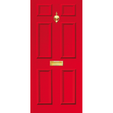 Door Vinyl Decal, Dementia Friendly with Letterbox & Knocker - Red