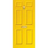 Door Vinyl Decal, Dementia Friendly with Letterbox & Knocker - Yellow