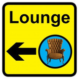 Lounge Sign with Left Arrow, Dementia Friendly - 30cm x 30cm