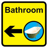 Bathroom Sign with Left Arrow, Dementia Friendly - 30cm x 30cm