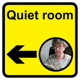 Quiet Room Sign with Left Arrow, Dementia Friendly - 30cm x 30cm