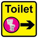 Toilet Sign with Right Arrow, Dementia Friendly - 30cm x 30cm