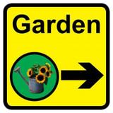 Garden Sign with Right Arrow, Dementia Friendly - 30cm x 30cm