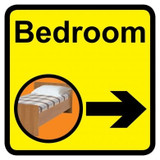 Bedroom Sign with Right Arrow, Dementia Friendly - 30cm x 30cm