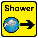 Shower Sign with Right Arrow, Dementia Friendly - 30cm x 30cm