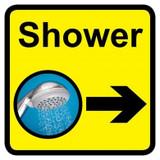 Shower Sign with Right Arrow, Dementia Friendly - 30cm x 30cm