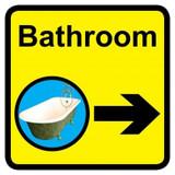 Bathroom Sign with Right Arrow, Dementia Friendly - 30cm x 30cm
