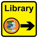 Library Sign with Right Arrow, Dementia Friendly - 30cm x 30cm