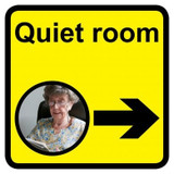 Quiet Room Sign with Right Arrow, Dementia Friendly - 30cm x 30cm
