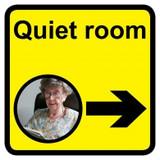 Quiet Room Sign with Right Arrow, Dementia Friendly - 30cm x 30cm