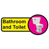 Bathroom & Toilet Sign, Dementia Friendly - 48cm x 21cm