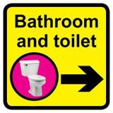 Bathroom & Toilet Sign with Right Arrow, Dementia Friendly - 30cm x 30cm