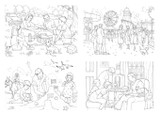 Large Format Retro Colouring Sheets