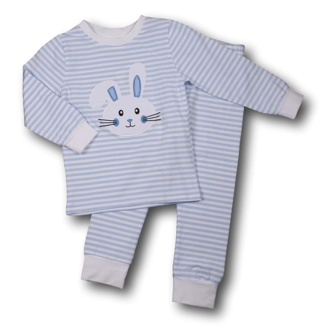 86302e81b Blue Mini Stripe Knit Bunny PJs - Cecil and Lou