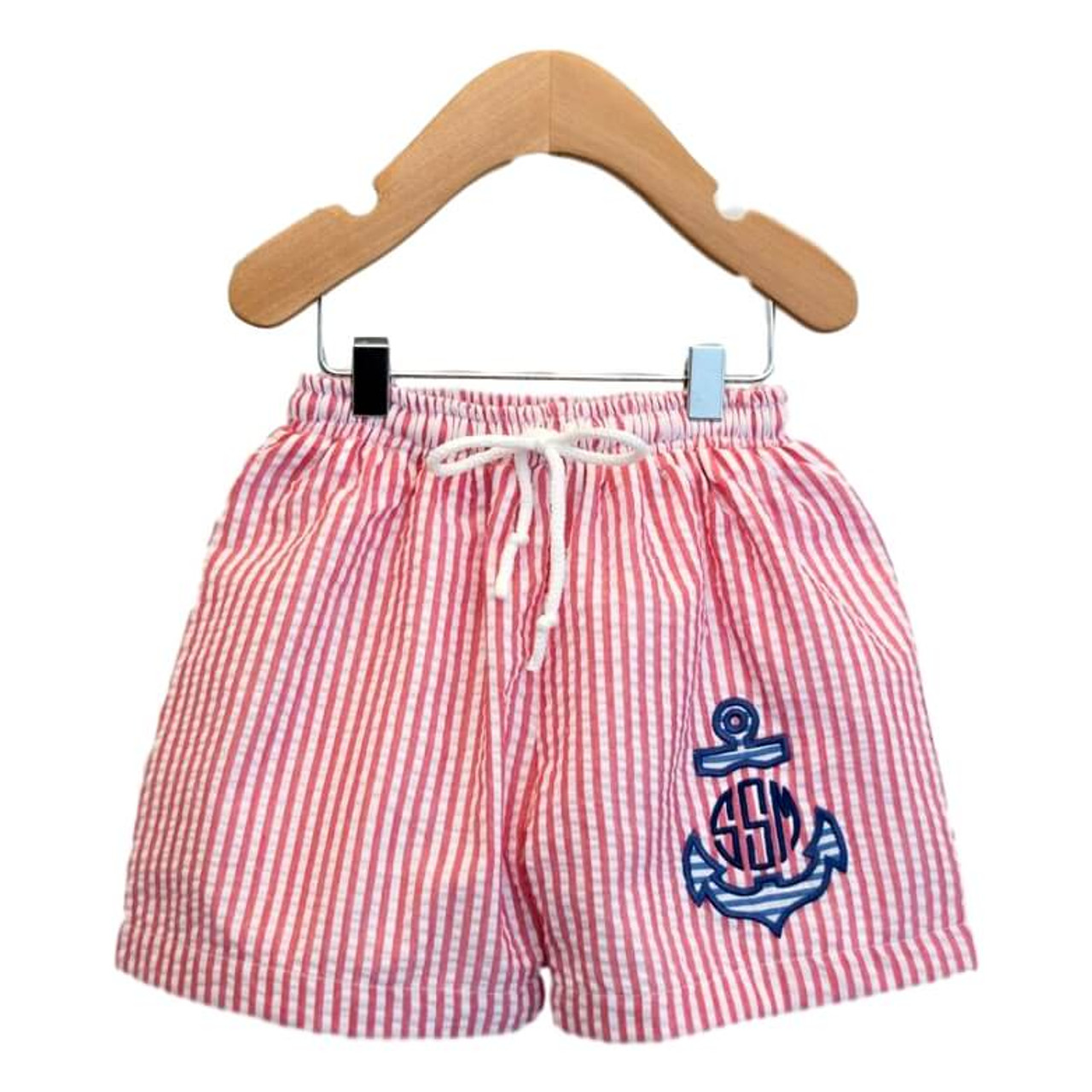 6636b12171 Red Seersucker Applique Anchor Swim Trunks - Cecil and Lou