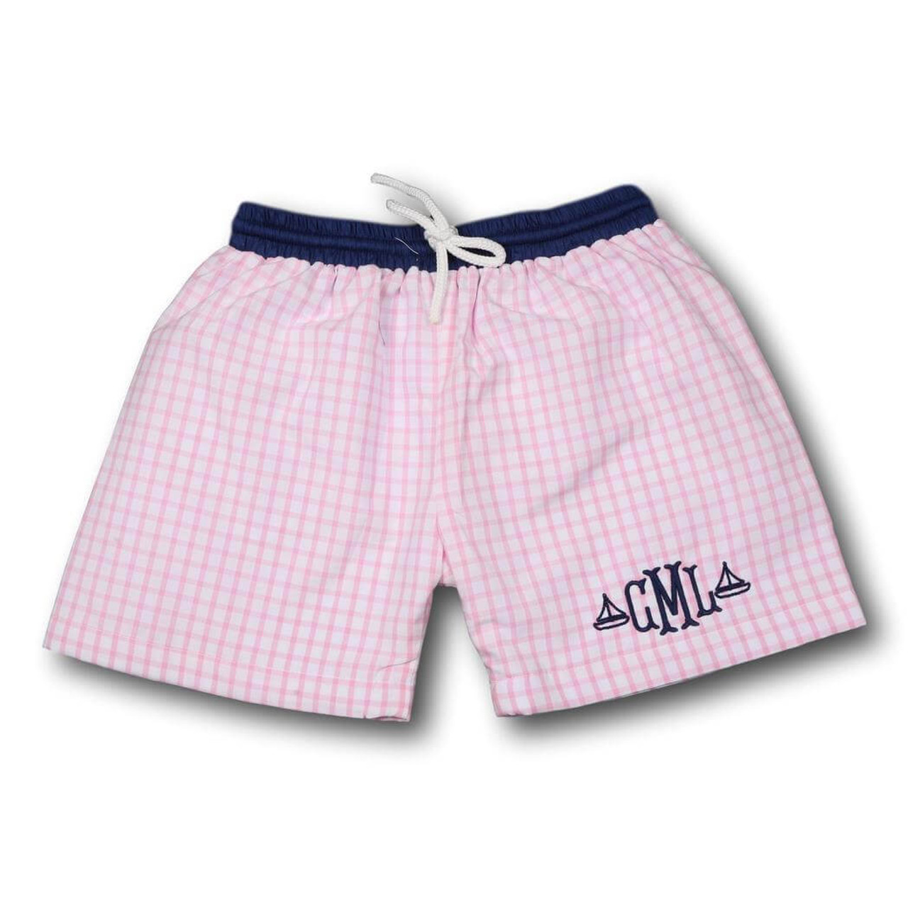 c40e0c0302 Pink Windowpane and Navy Swim Trunks - Cecil and Lou