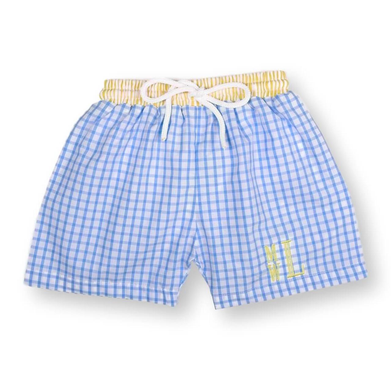 bc65ea618b Blue and Yellow Windowpane Swim Trunks - Cecil and Lou