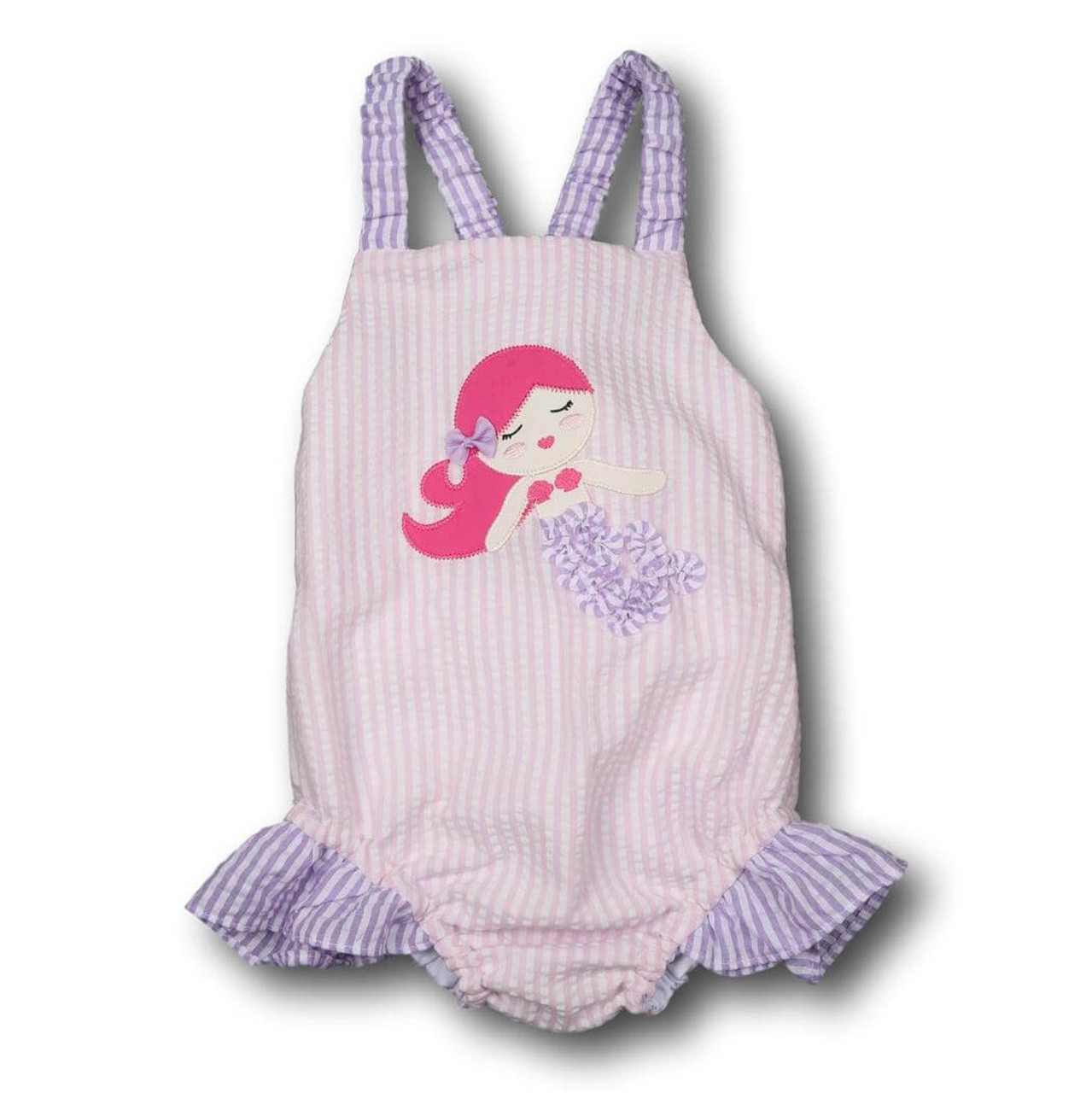 9bbbf309b5cf0 Pink and Purple Seersucker Mermaid Swimsuit - Cecil and Lou