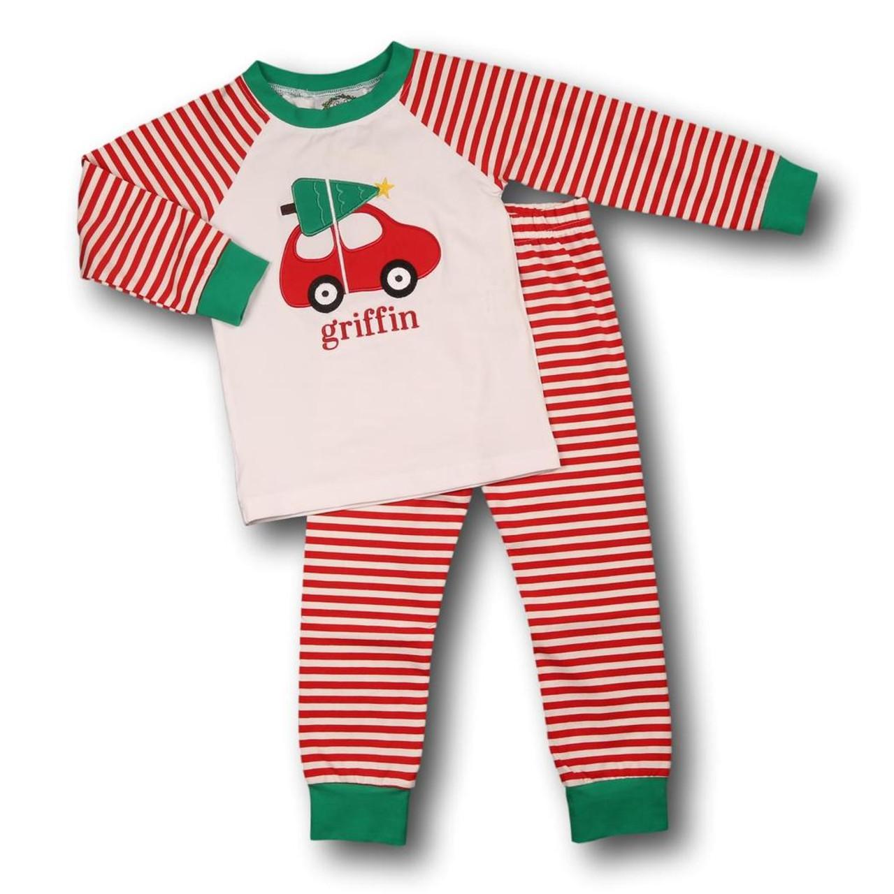 Toddler Boy Christmas Pajamas.Car And Tree Boys Knit Pj Set