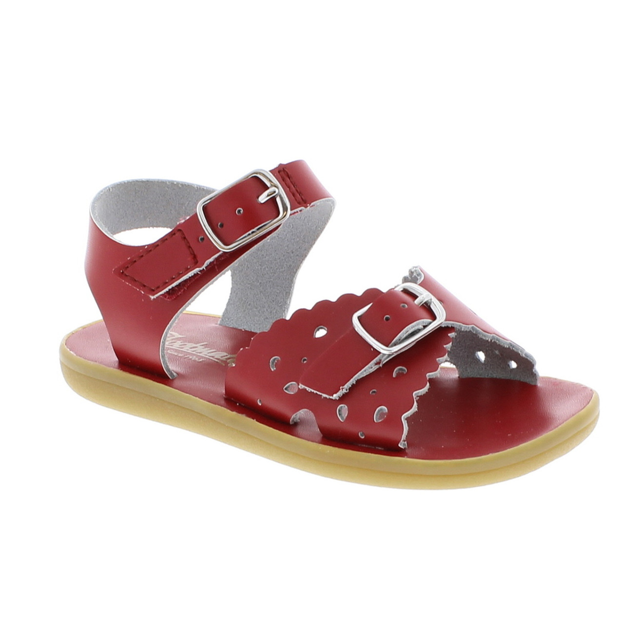 828b81644712d Red Leather Perf Sandal with Velcro Strap (ISCL-ARIEL1112-19)
