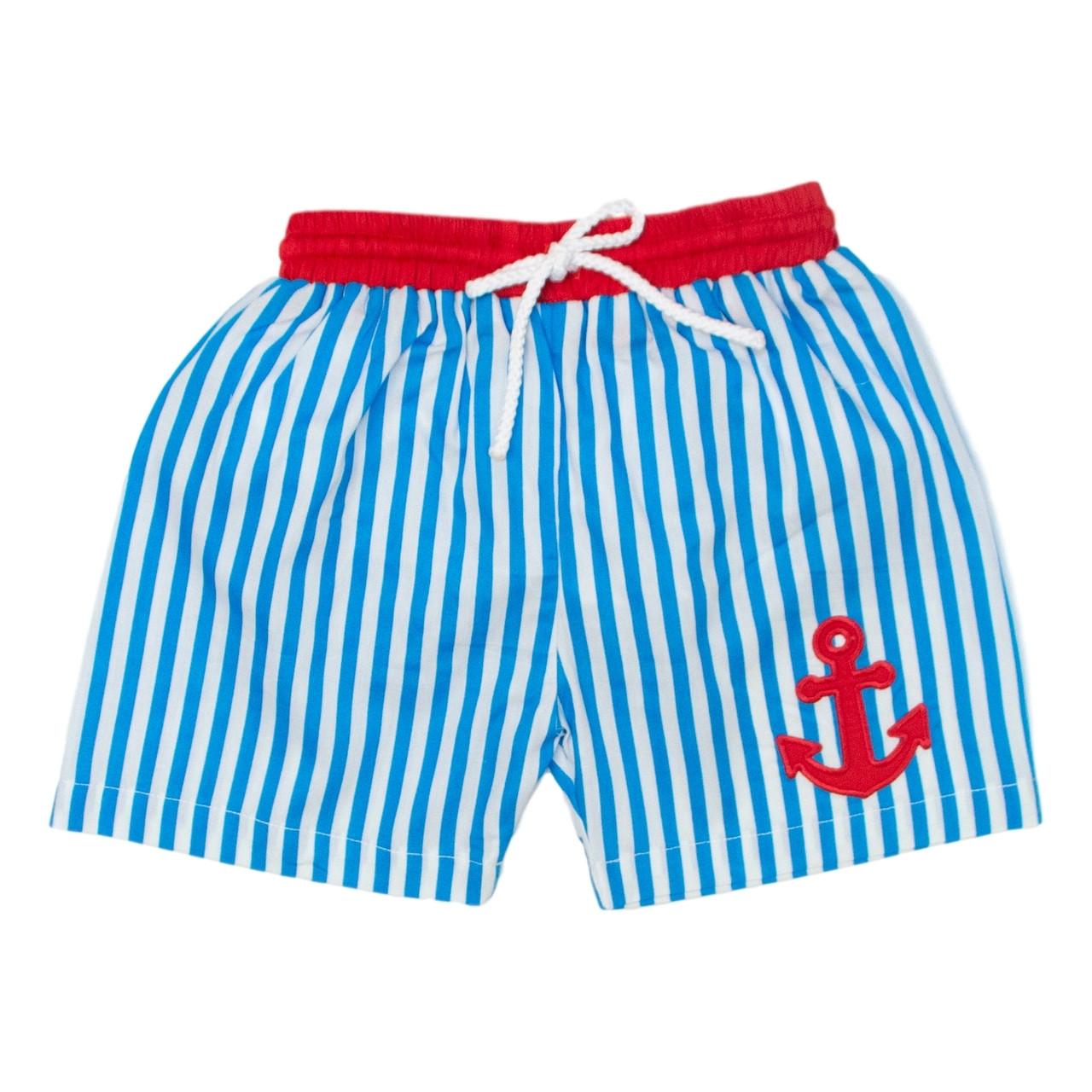53b55773ce Turquoise Stripe Anchor Swim Trunks