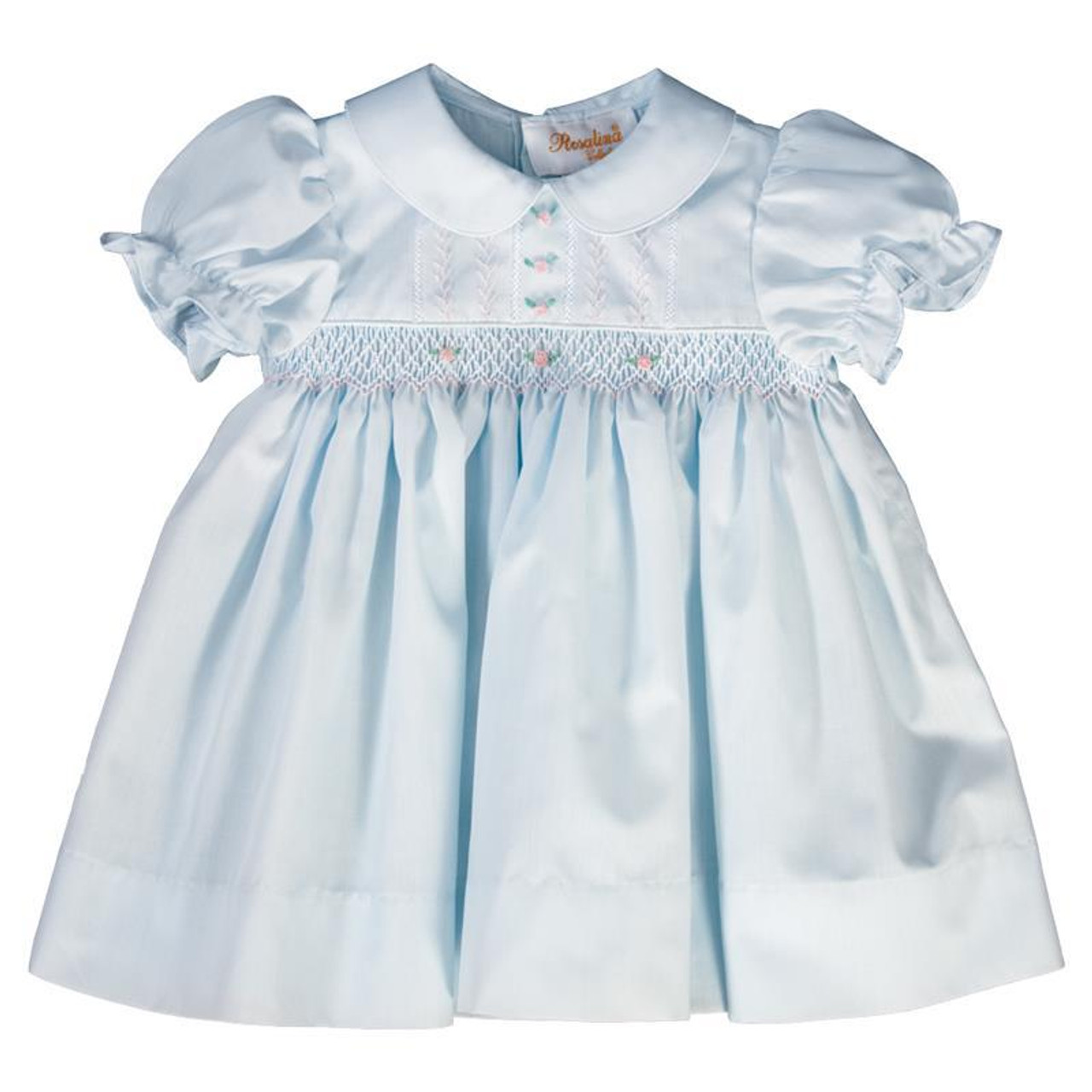 52bc3a690d39 Lillian Light Blue English Smocked and Feather Stitched Baby Dress ...