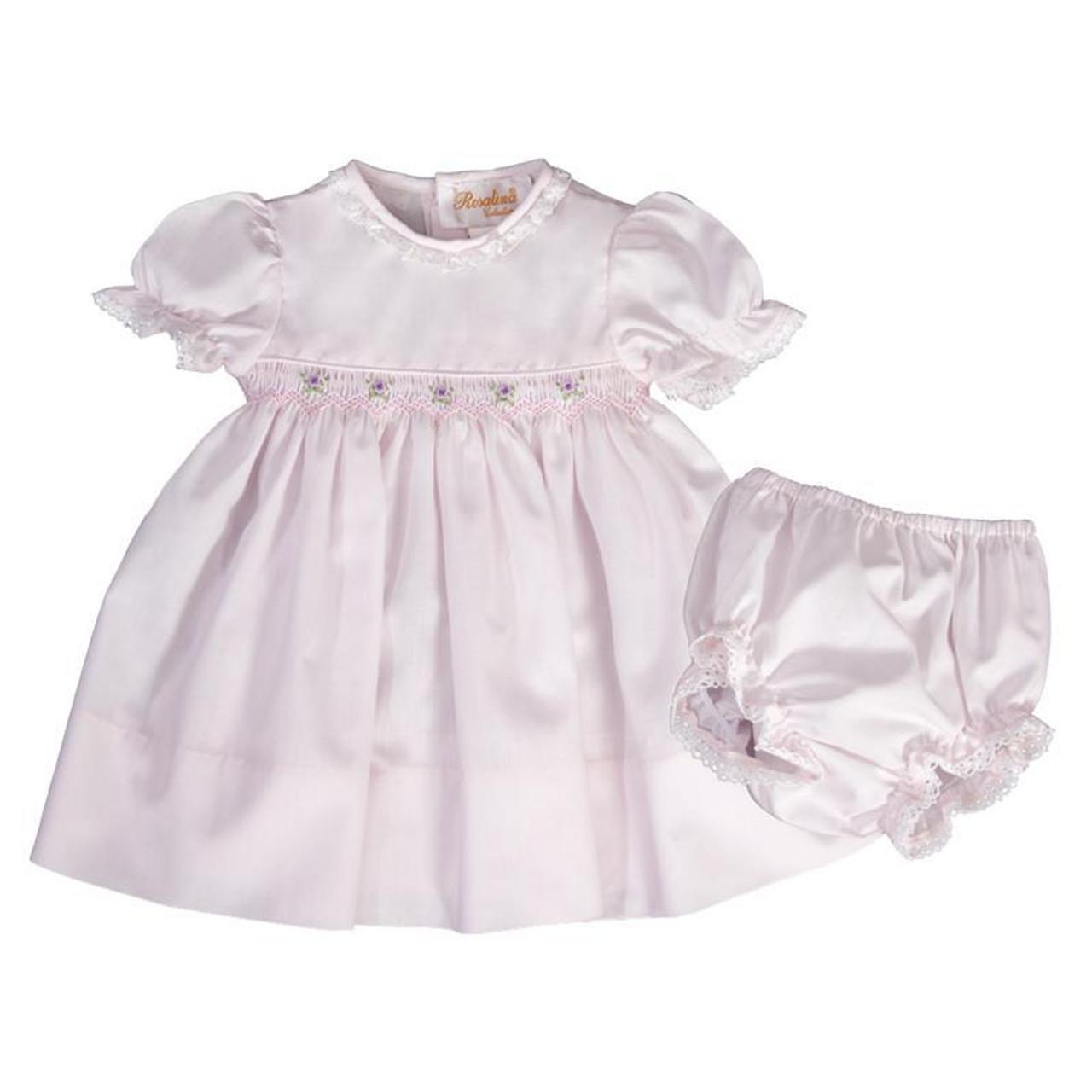 29886d90b0af Aria Light Pink English Smocked Baby Dress with Eyelet Bloomer ...