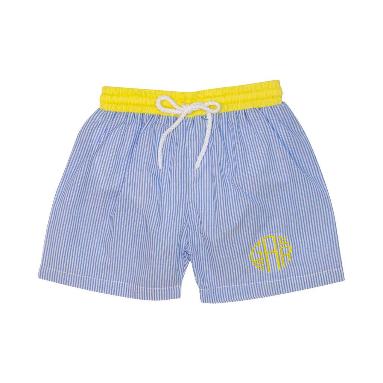 67fe6e5d24 Blue Stripe Yellow Trim Swim Trunks - Cecil and Lou