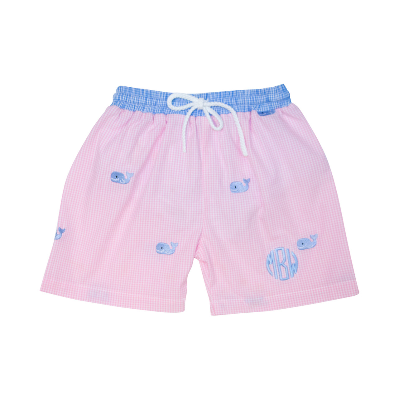 b725c8184e Pink Gingham Embroidered Whale Swim Trunks - Cecil and Lou