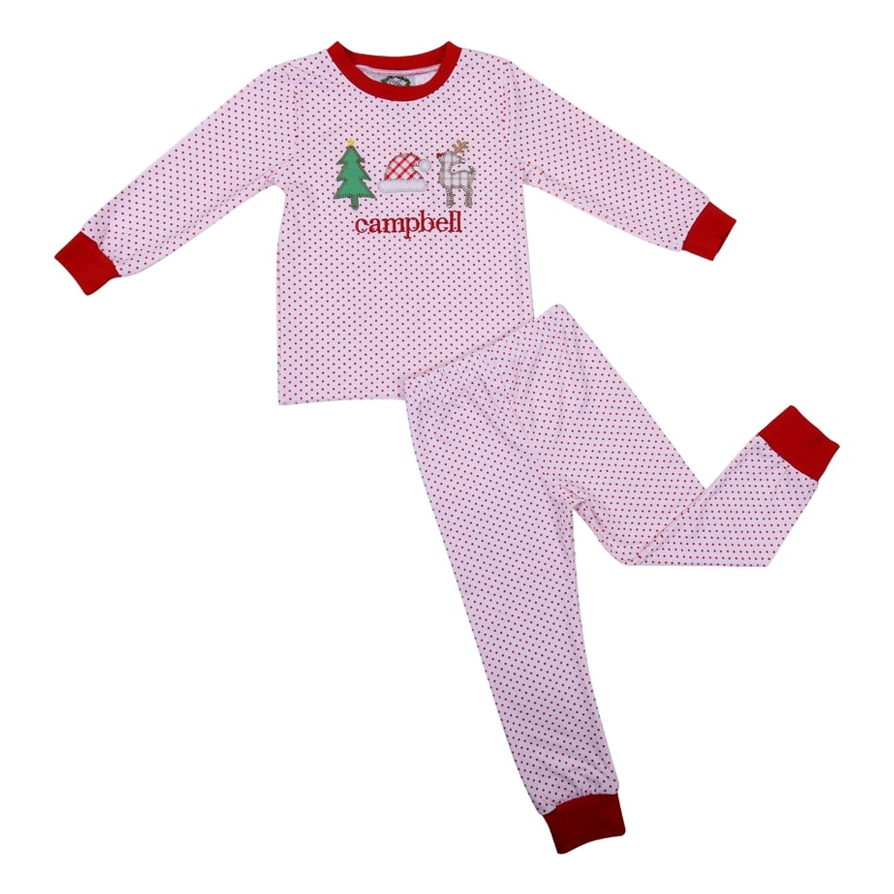 Christmas Pj.Red Knit Dot Applique Christmas Pj Set