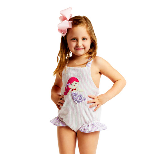 30ed411e7f958 Pink and Purple Seersucker Mermaid Swimsuit - Cecil and Lou