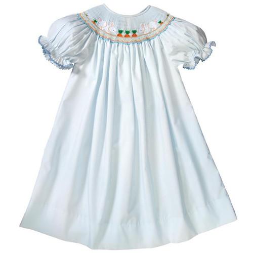 43b4c24b1 Bunnies & Carrot Garden Light Blue Smocked Bishop Dress