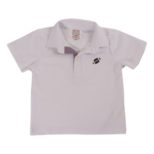 White Knit Football Polo With Purple Gingham