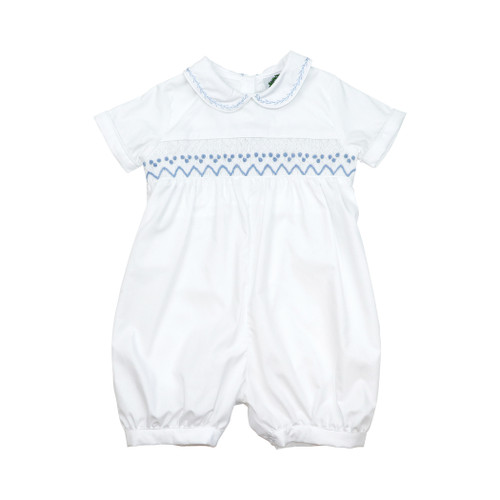 Baby Boys Spanish Style Whale Smocked Romper Blue White Stripe Traditional 0-9M