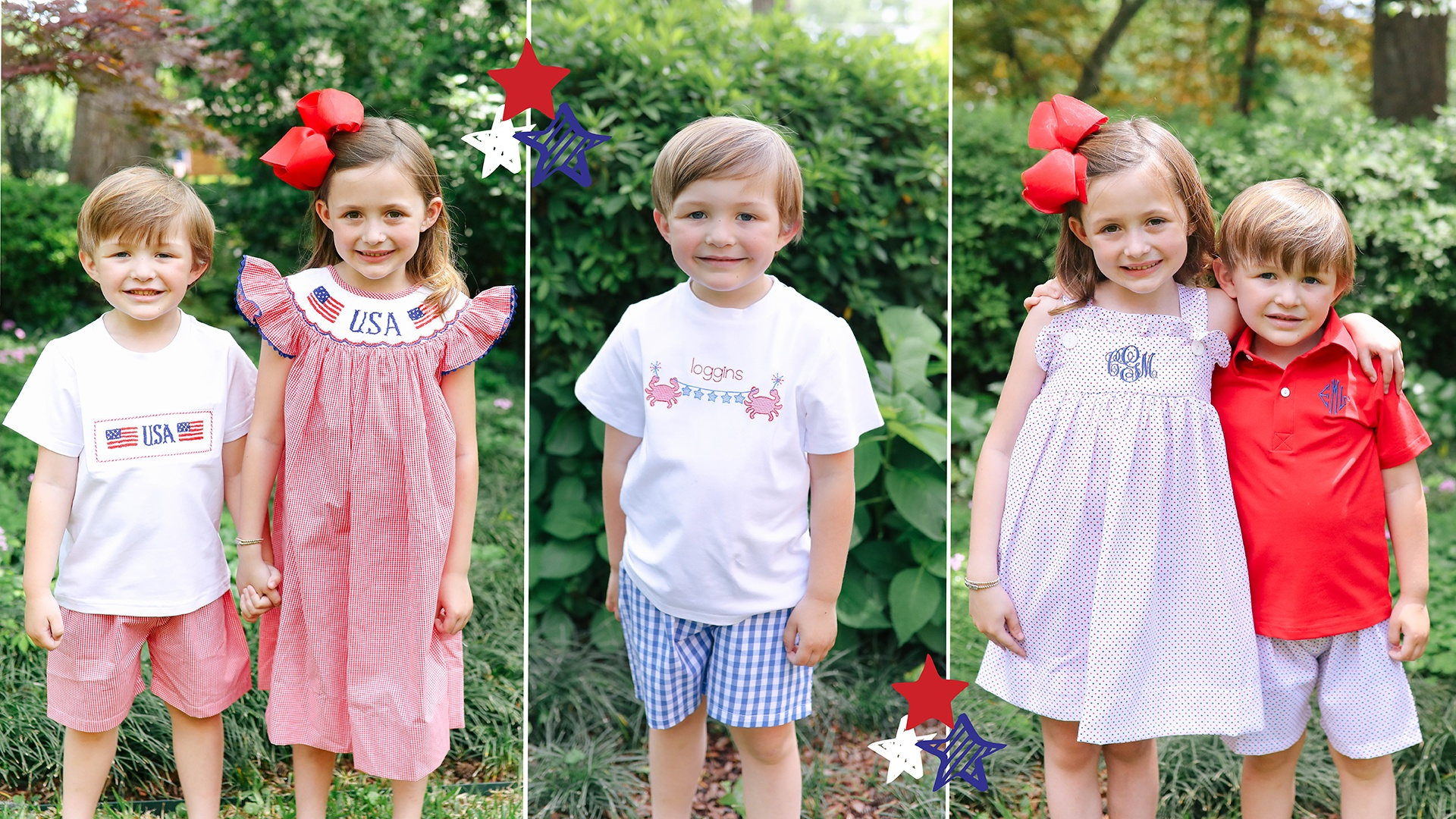 Childrens Red, White, and Blue Outfits