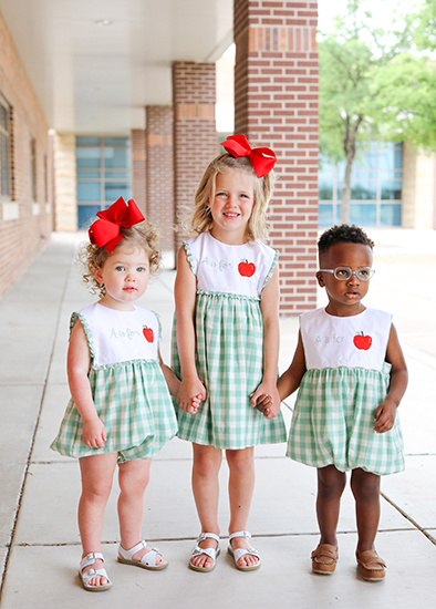 little girls in adorable Green Check Bubbles