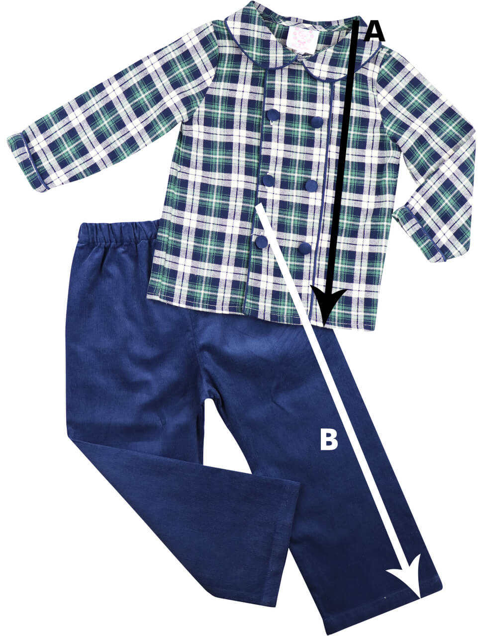 Boys Collared Shirt Pant Set Size Chart